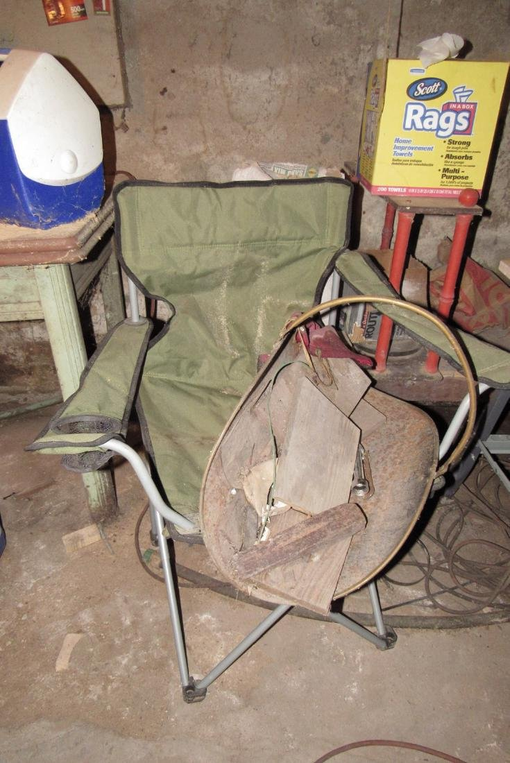 Partial Basement Contents Fuel Garbage Cans Work Tables - 3