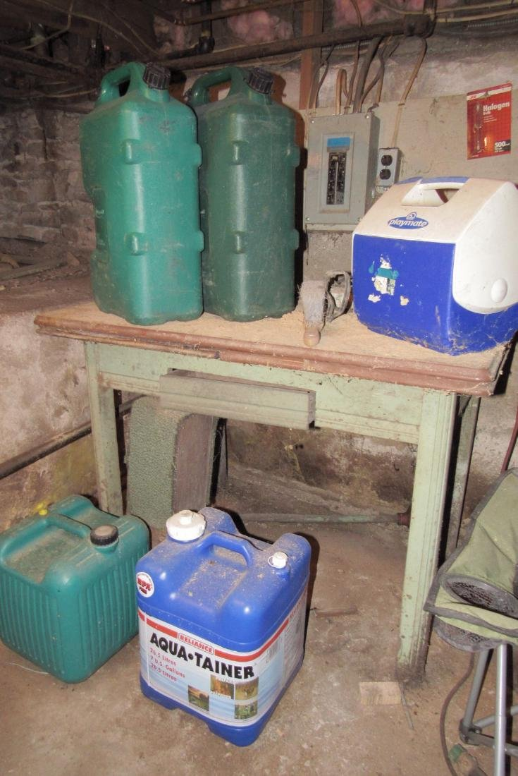 Partial Basement Contents Fuel Garbage Cans Work Tables - 4