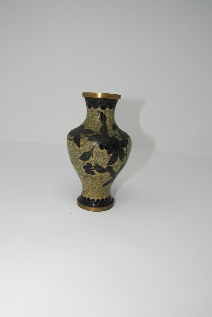 Enameled Brass China Vase