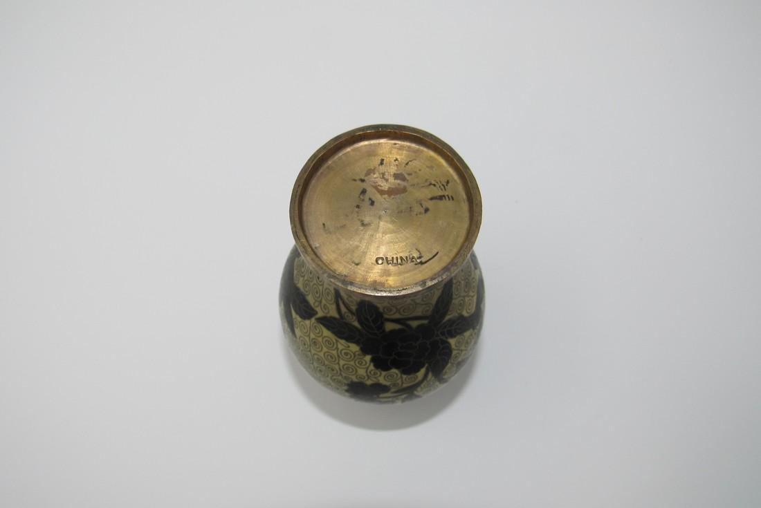 Enameled Brass China Vase - 2