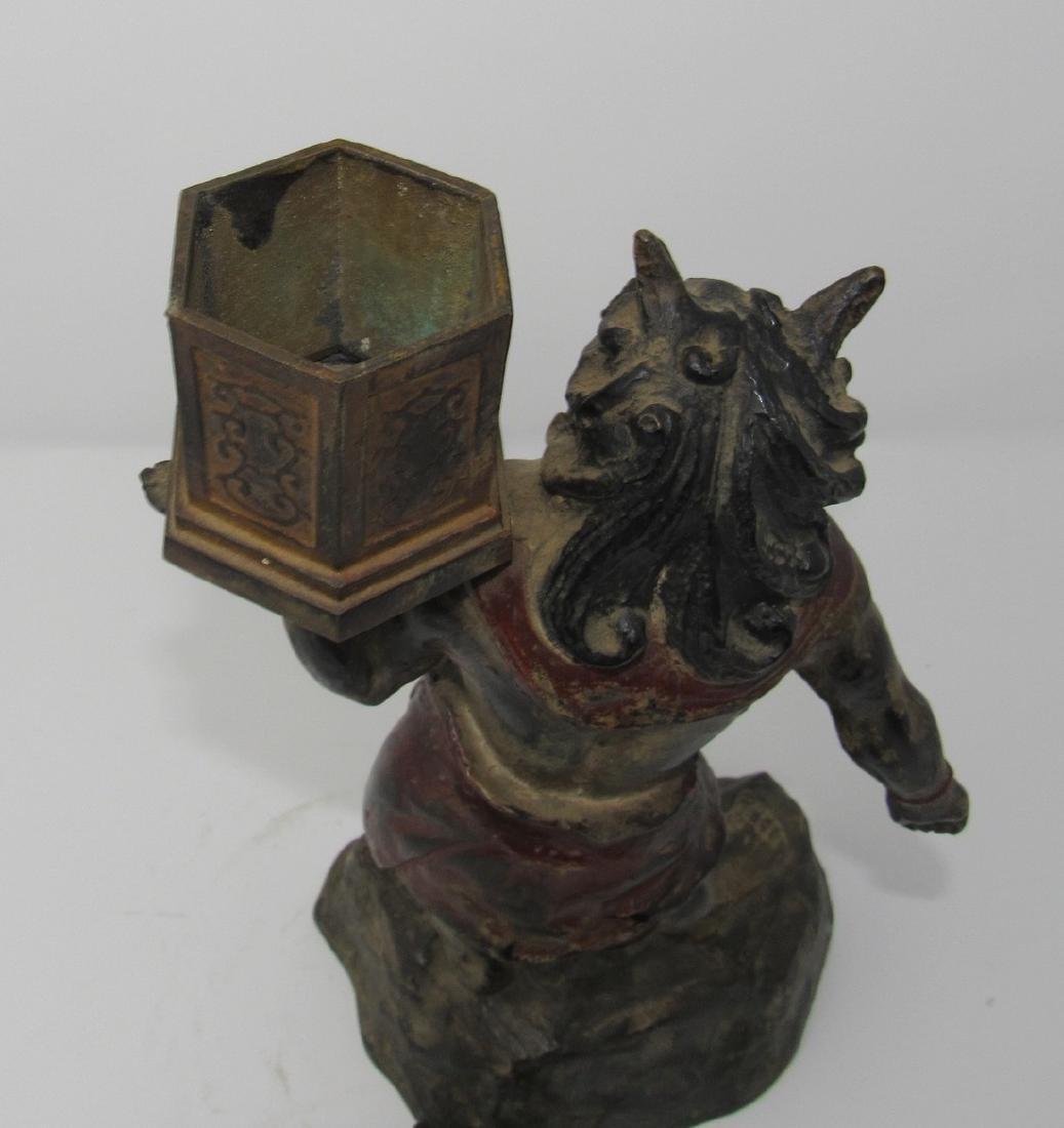 Bronze Asian Oriental Warrior Statue - 3