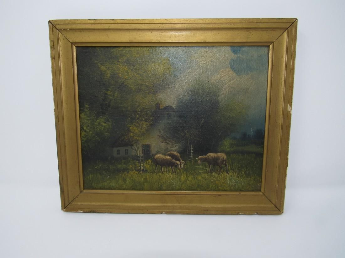 Antique Sheep Farm Scene Oil on Canvas Painting