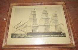 Currier  Ives Homeward Bound Ship Litho Print