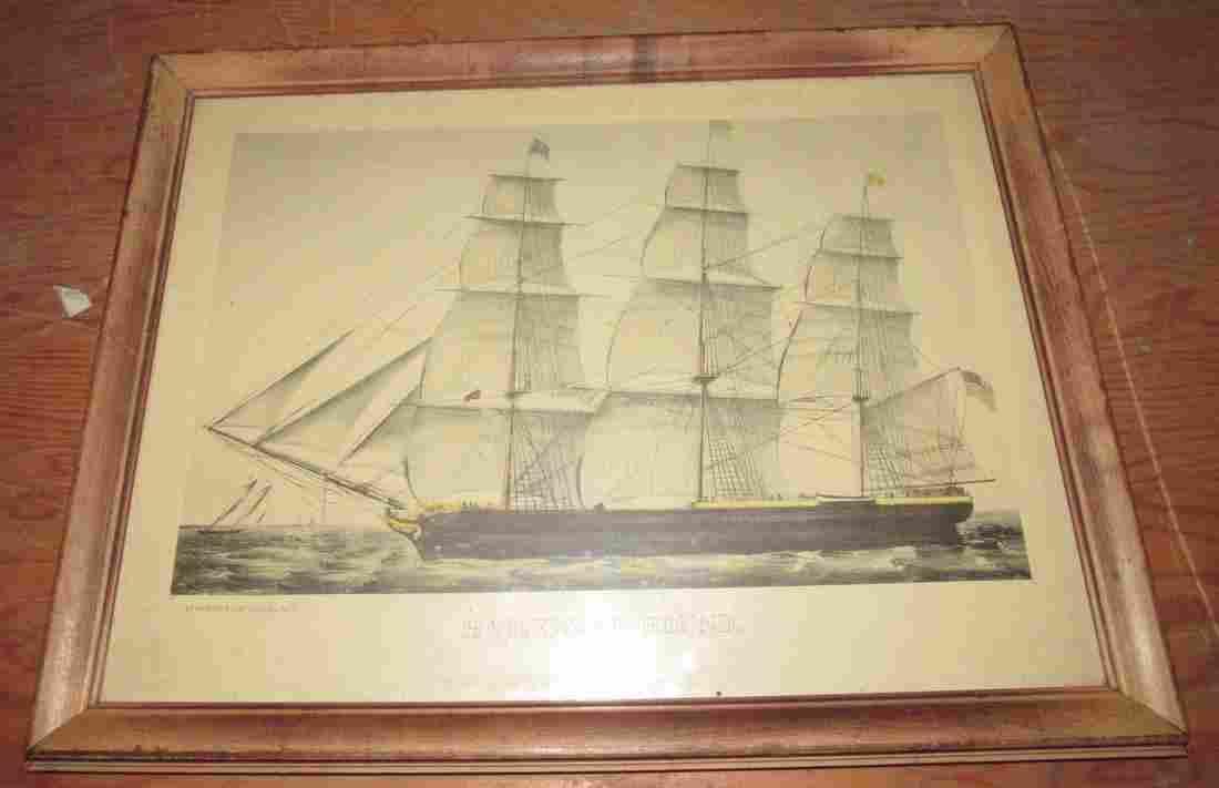 Currier & Ives Homeward Bound Ship Litho Print