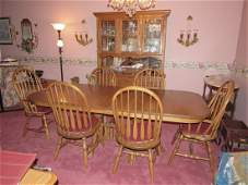 Oak Table Six Chairs & Hutch Dining Room Set
