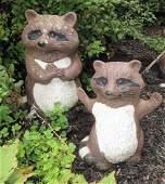 2 Concrete Raccoon Outdoor Figures Statues