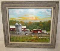 Lorraine Robertson Oil On Canvas Farm Barn Cow Painting