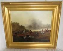 J. Kolamaous Oil On Canvas Hunting Scene Painting