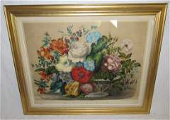 Currier  Ives Spring Flowers Litho Print