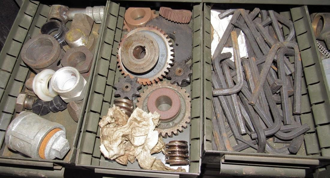 Parts Cabinet Gears Roll Pins Hardware - 3