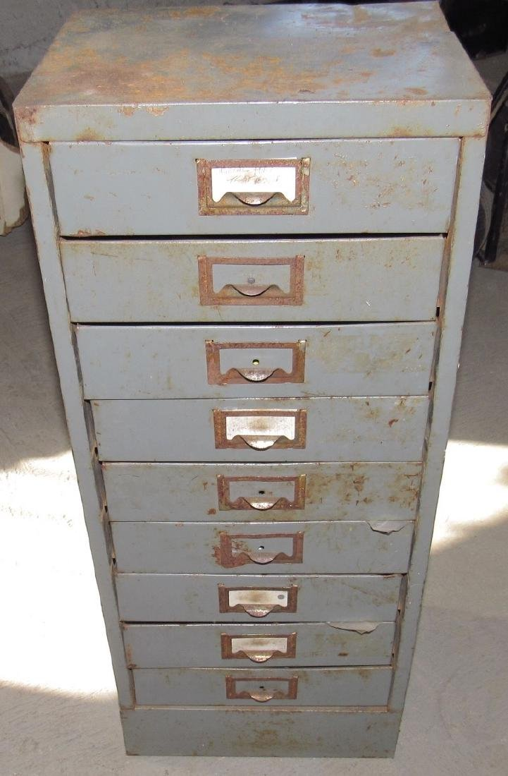9 Drawer Parts Cabinet w/ Springs Hole Saws & Misc