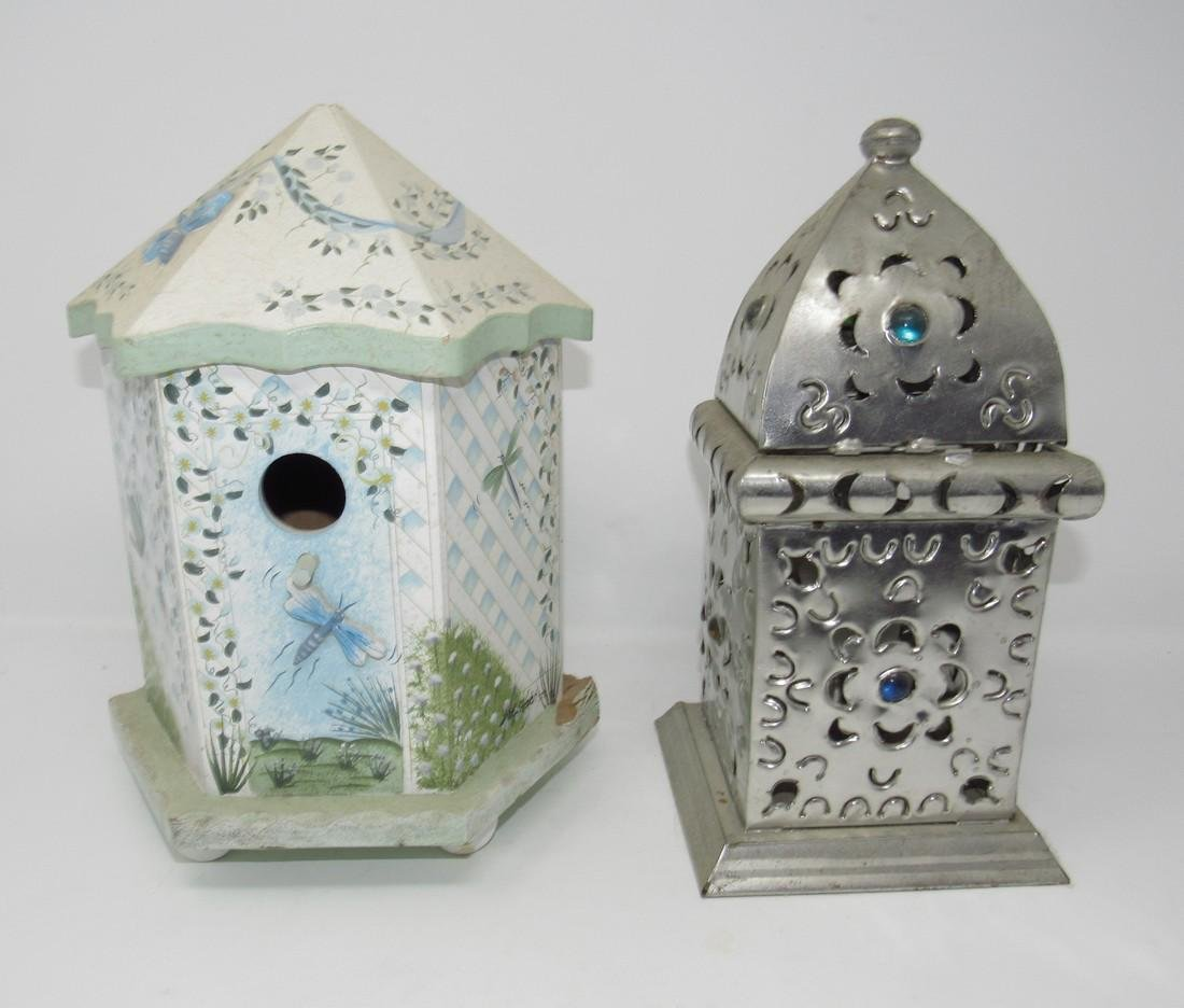 Birdhouse and Pierced Tin Candle Lamp