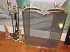 Brass Fireplace Set Screen Tools Andirons
