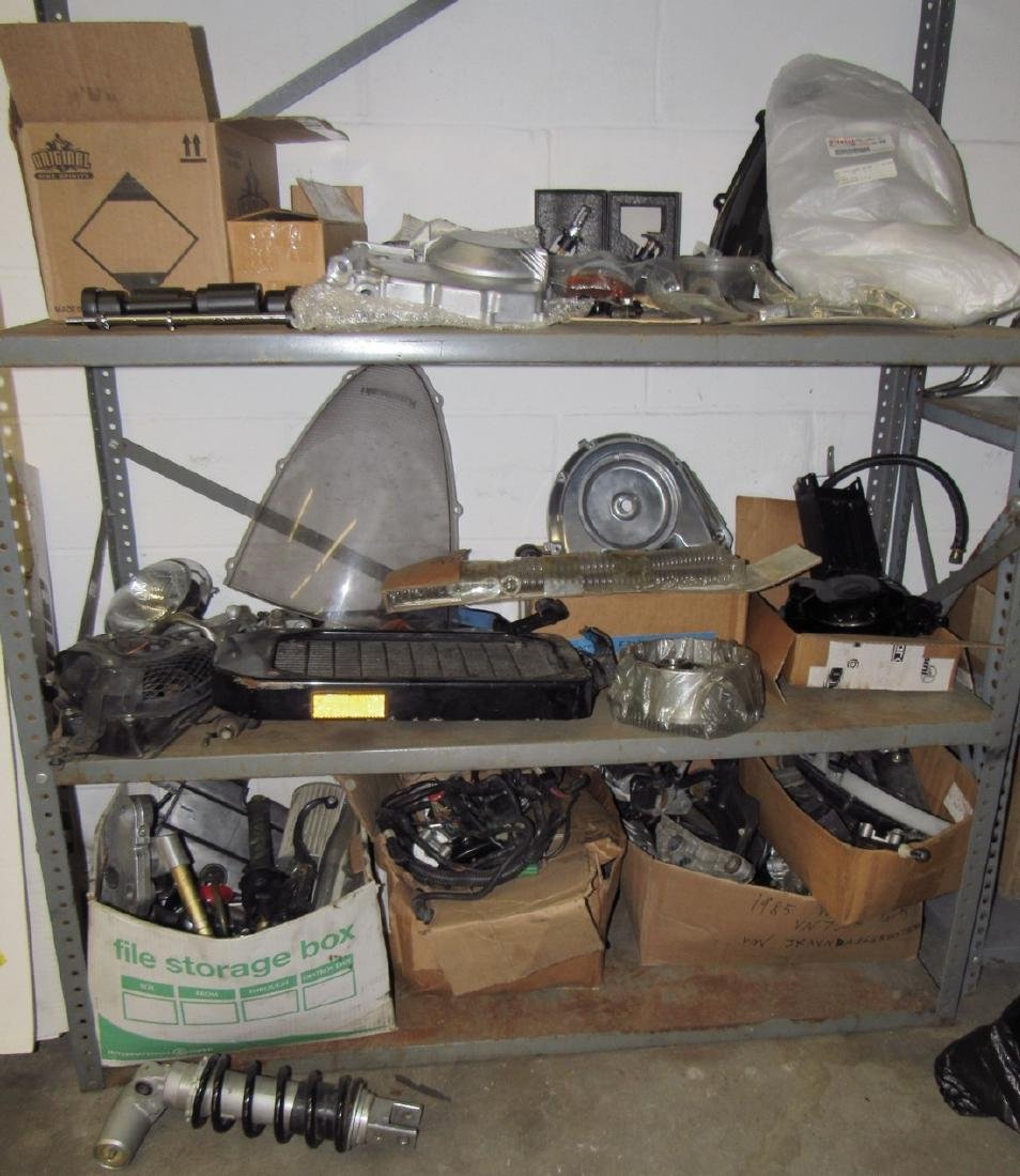 3 Shelves Full of Misc Motorcycle Parts