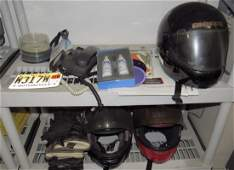 Vintage Used Helmets and shelf Contents