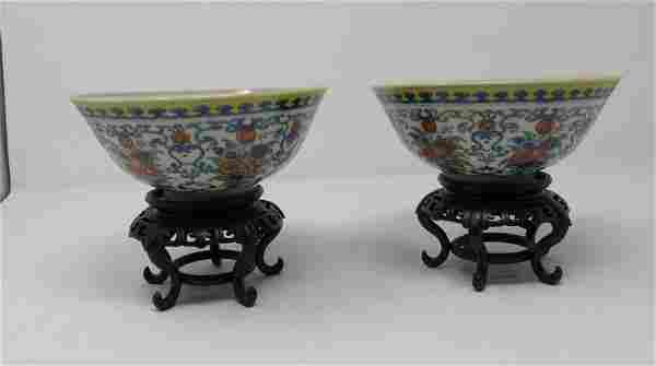 2 Oriental Bowls and Stands