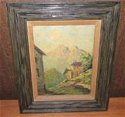 Oil on Canvas Country House Scene by Moretti