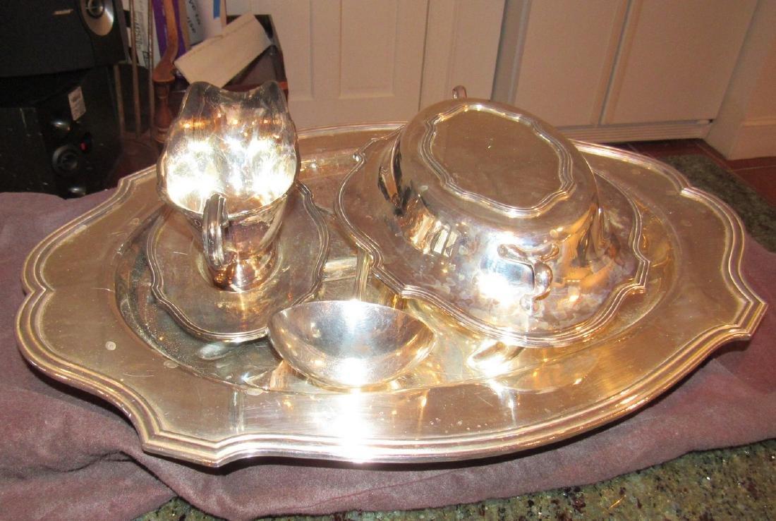 Silverplate Platter Ladle Gravy Boat