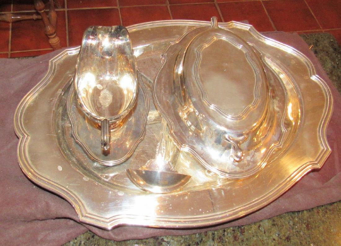 Silverplate Platter Ladle Gravy Boat - 2