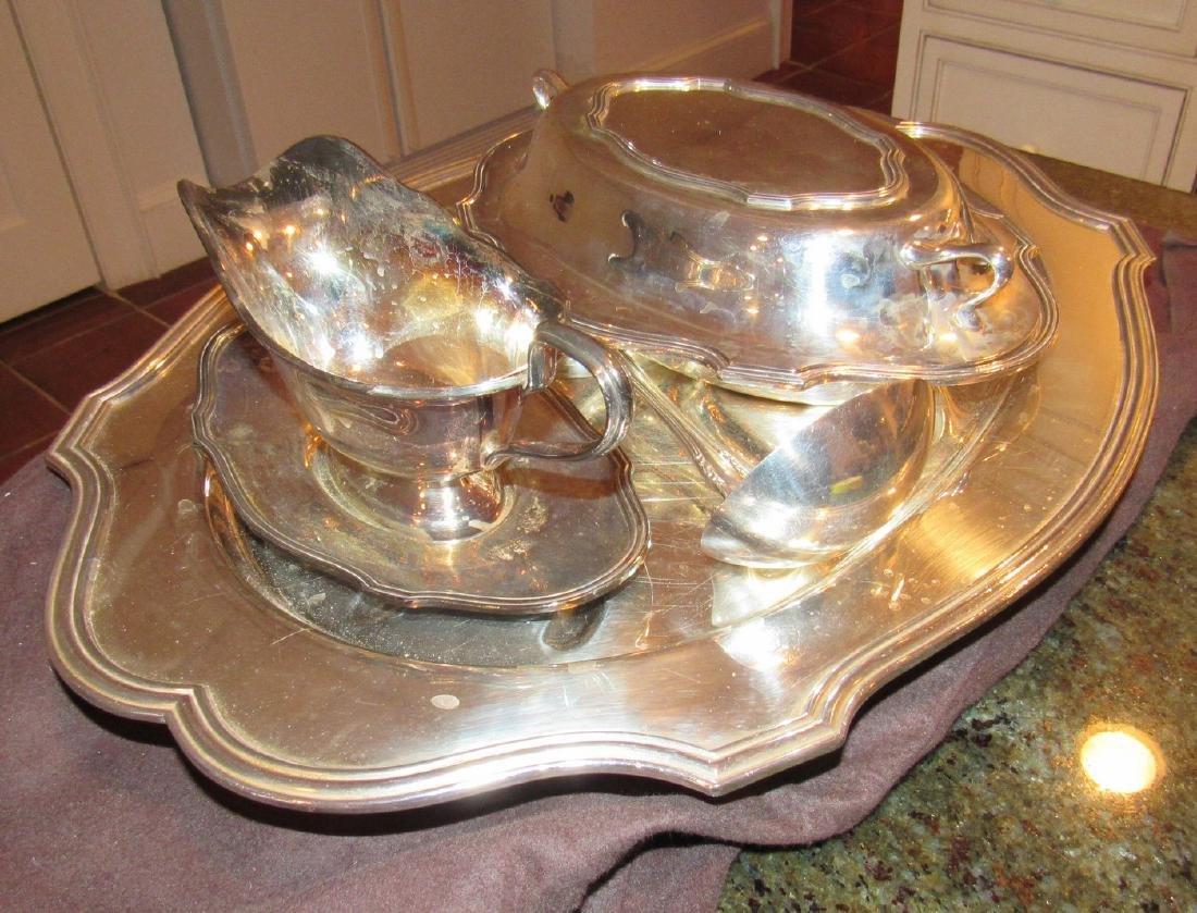 Silverplate Platter Ladle Gravy Boat - 3