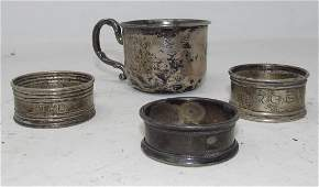 Sterling Silver Cup and Napkin Ring Holders