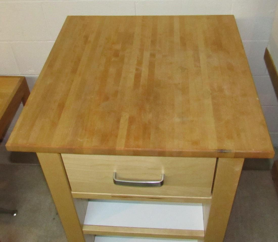 One Drawer Stand with Butcher Block Top - 2