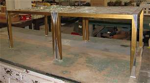 2 Unusual Mid Century Modern Tables Leaded Glass Tops