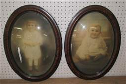 2 Baby Photos in Convex Glass Frames