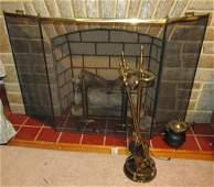 Fireplace Set Brass Andirons Screen Lighted Log