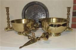 Brass Baldwin Bowls Candlesticks and Wall Sconce