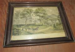 Currier and Ives New England Home Print