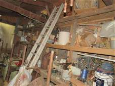 Large Contents of Room Vise Scrap Iron Parts Table