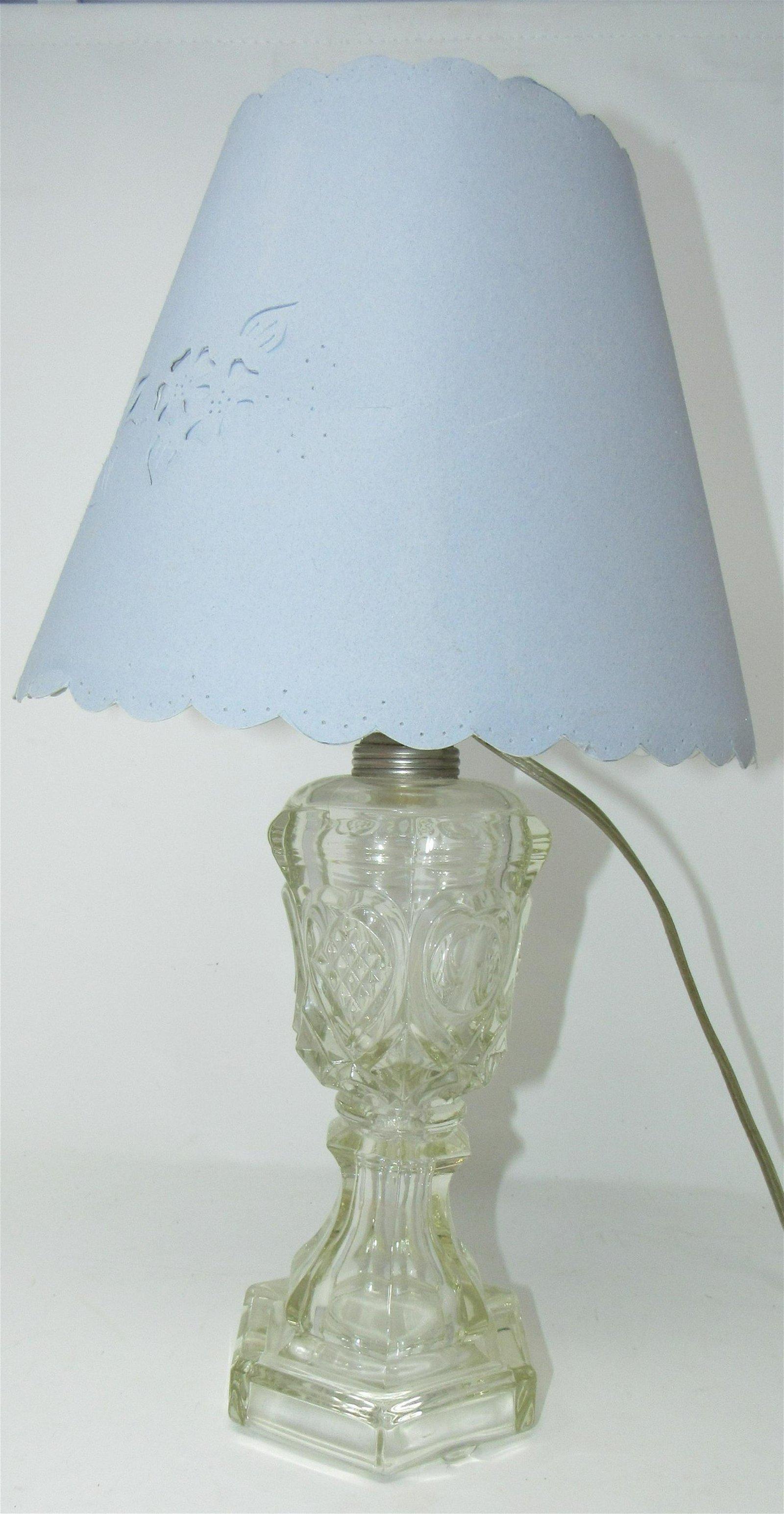 Sandwich Glass Electrified Oil Lamp