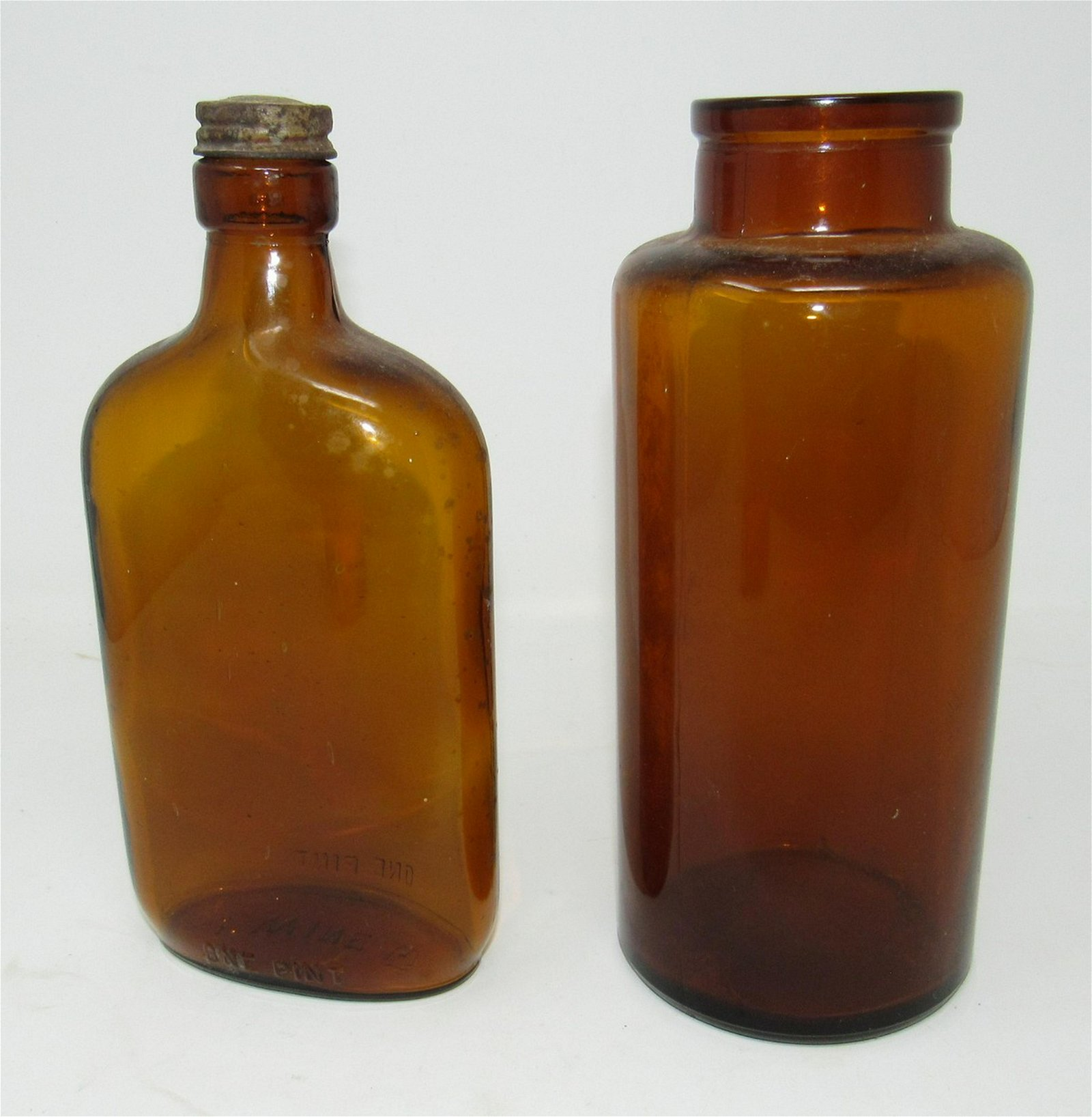 Amber Glass Jar and Bottle