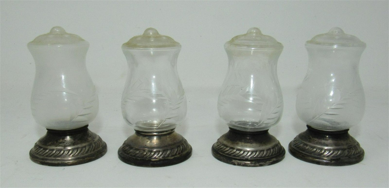 Salt and Pepper Shakers with Sterling Silver Base