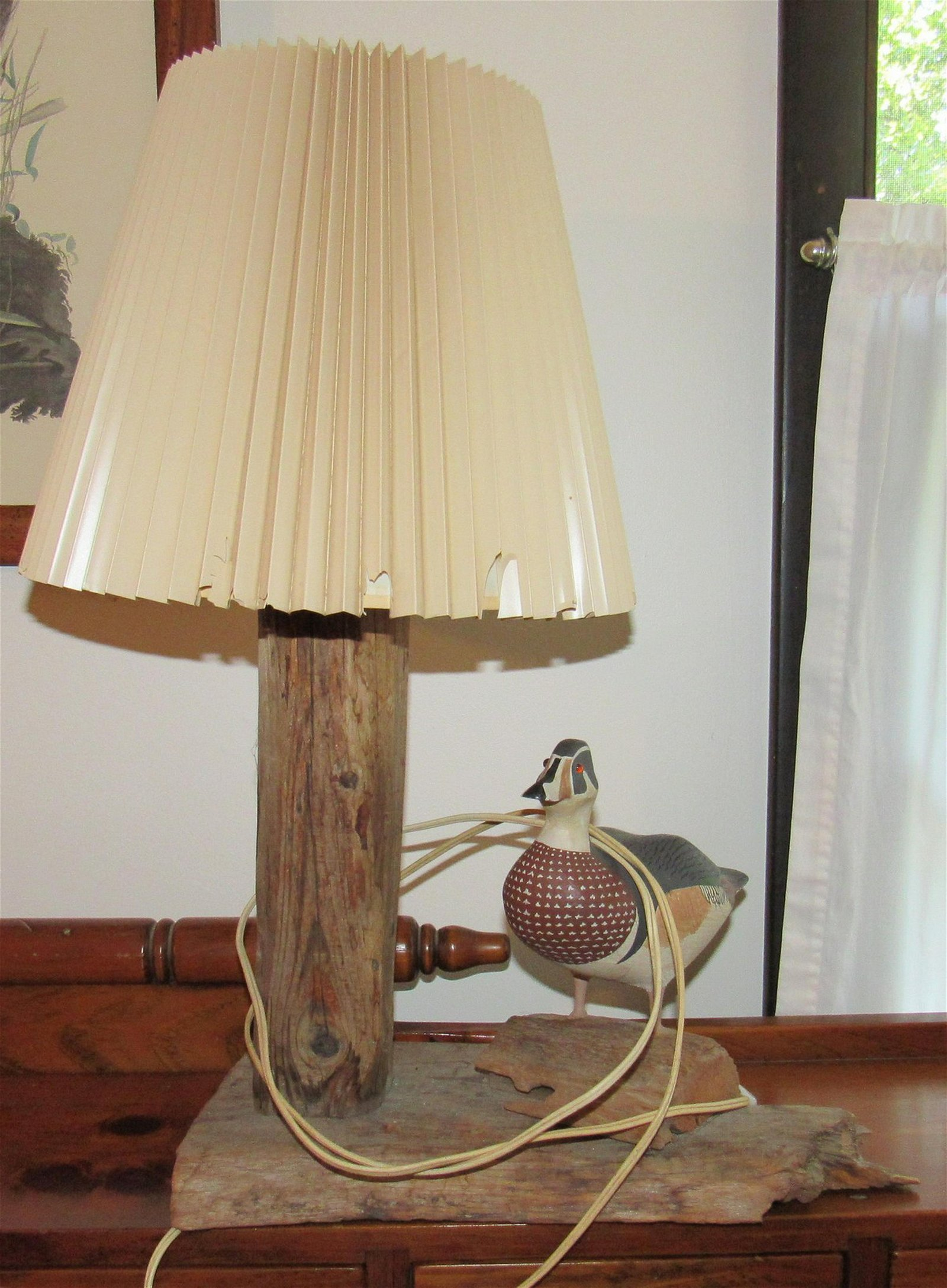 Wooden Carved Duck Lamp