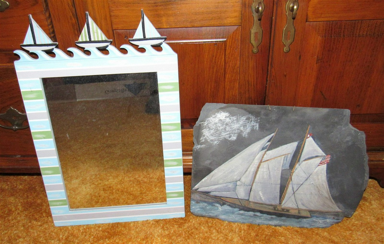 Sailboat Mirror and Painted Slate