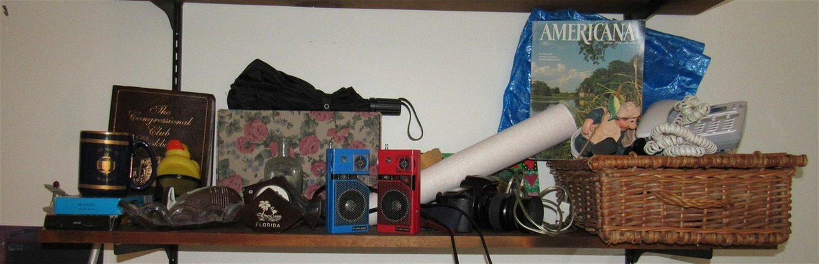 Contents of Shelf Cannon Camera Silver Crown Radios