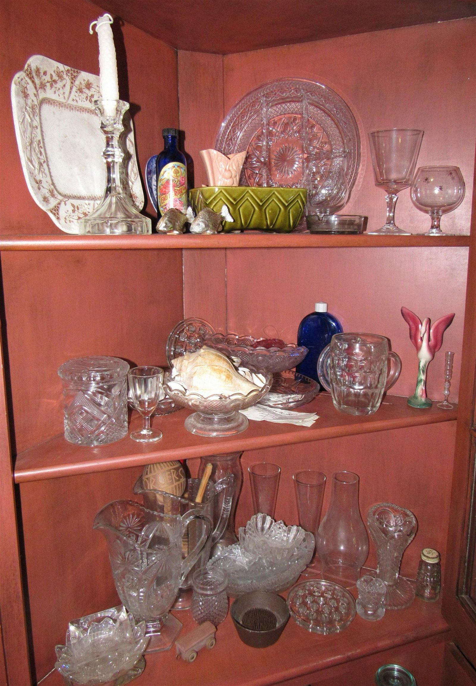 Contents of 3 Shelves Glassware Divided Dish Candy Dish