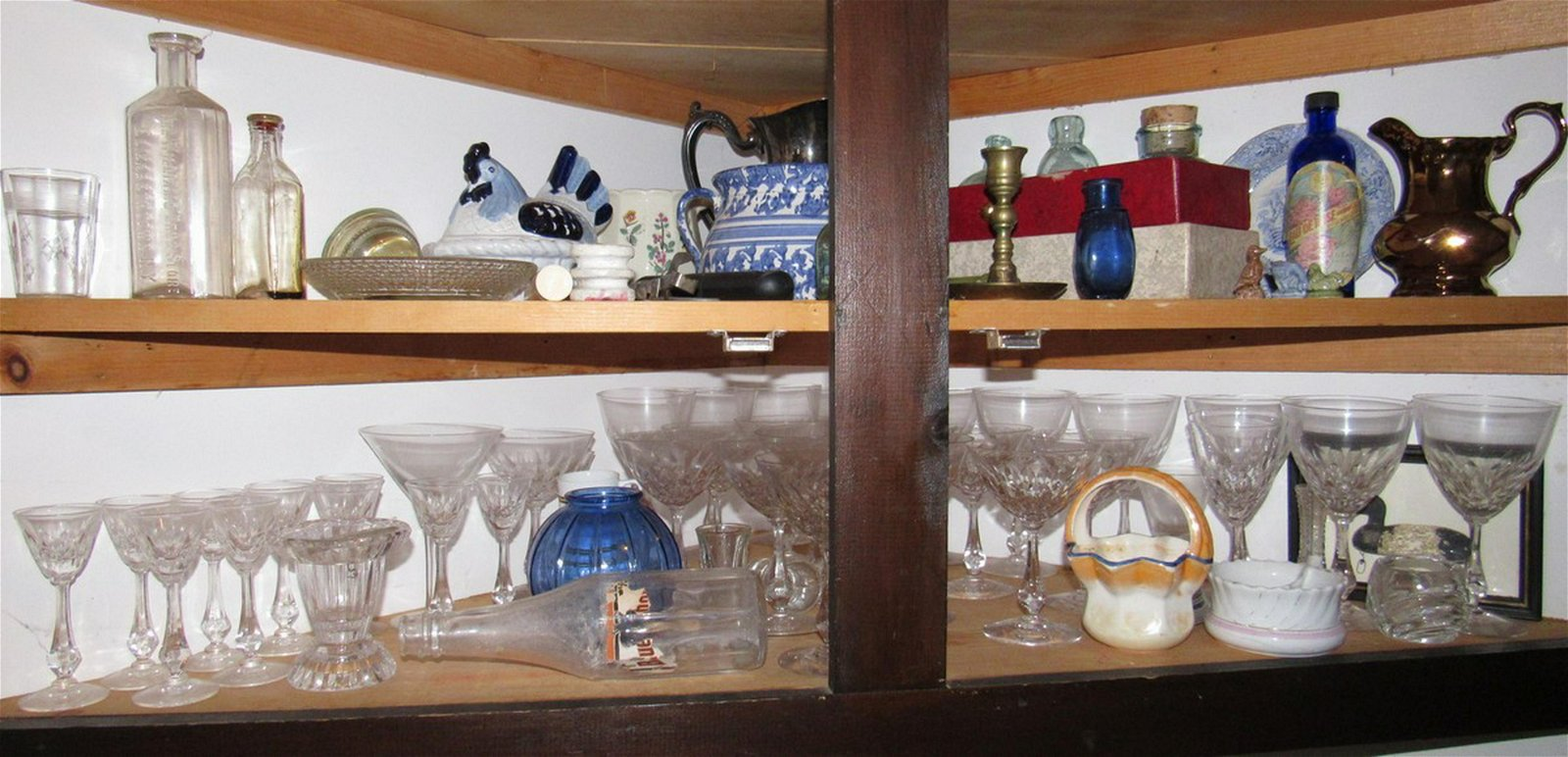 Contents of 2 Shelves Bottles Stemware Silver Plate