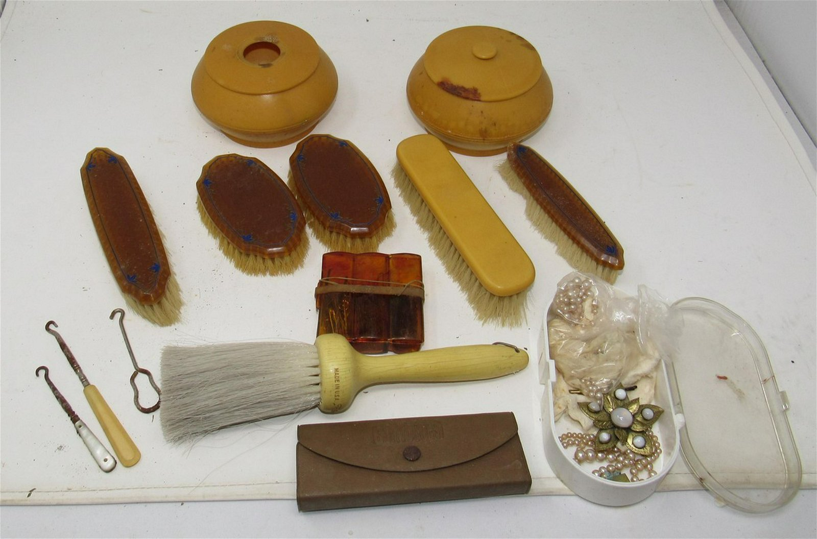 Vanity Brushes Jars Button Hooks Buttons