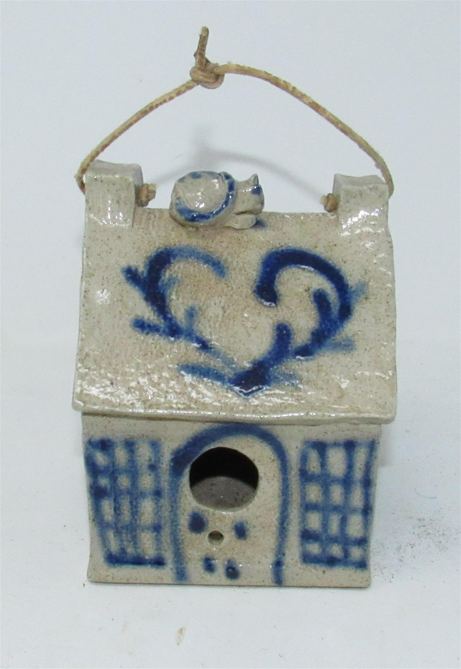 Pottery Birdhouse with Cat on Roof