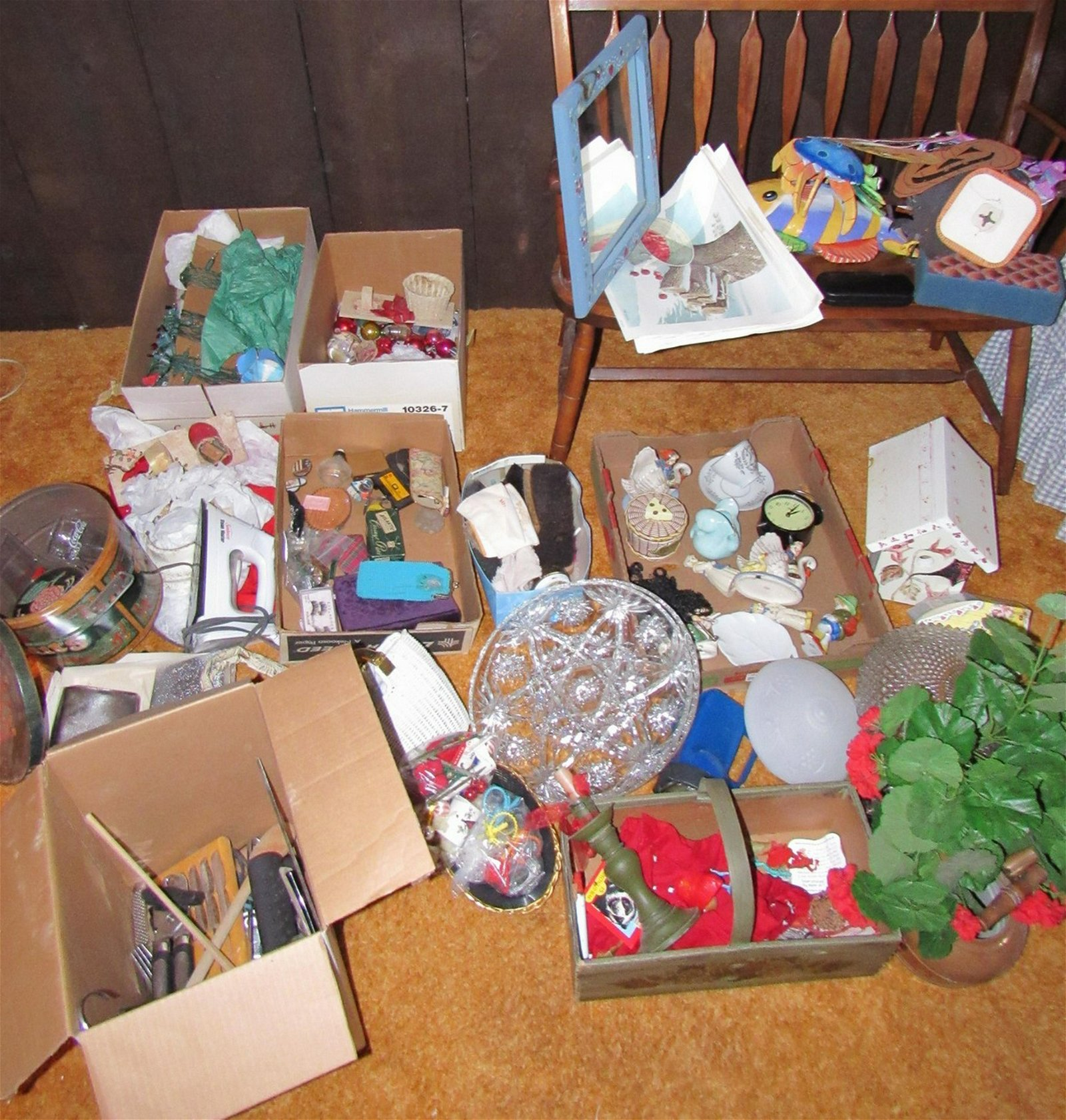 Large Lot of Misc Christmas Decorations Bird House