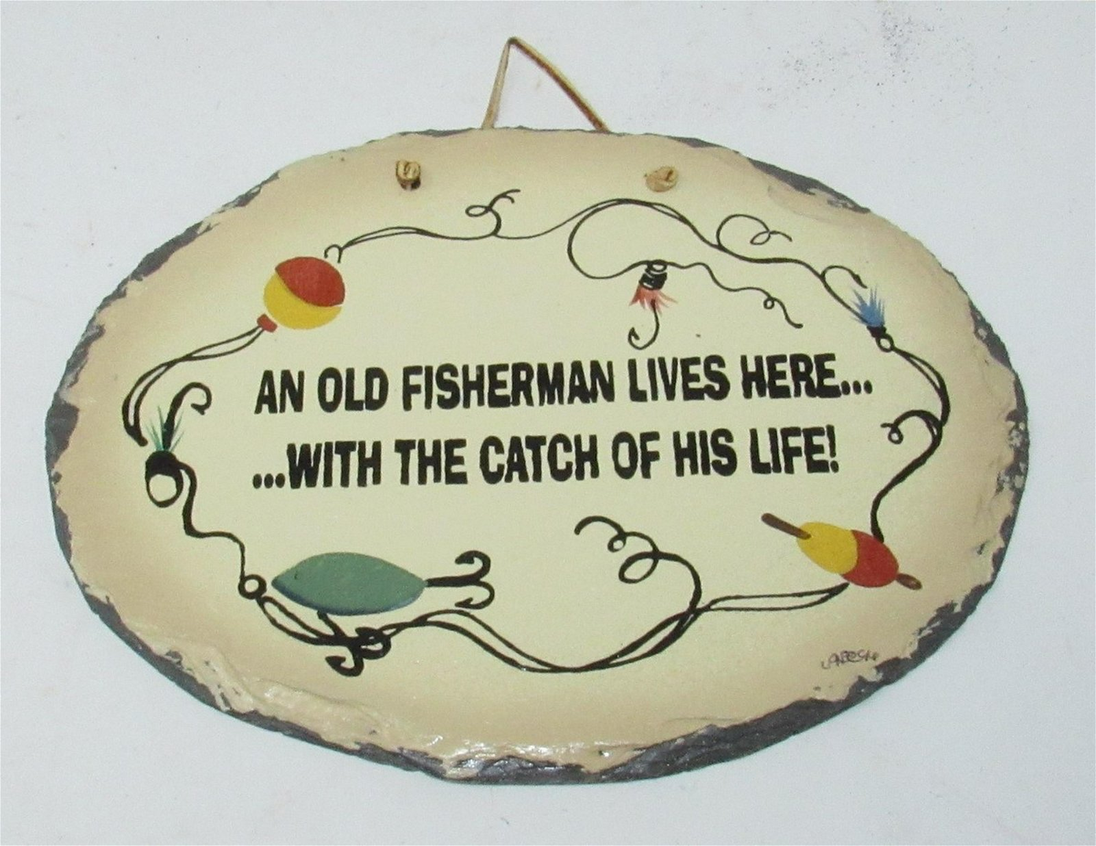 Old Fisherman Hand Painted Slate Sign