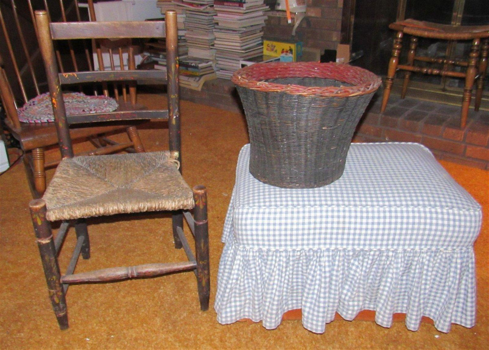 Chair Ottoman and  Basket