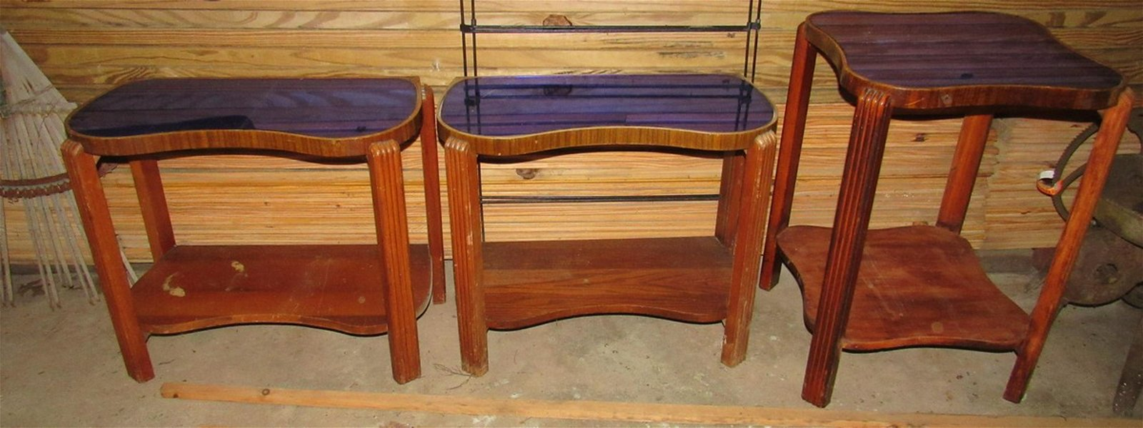 Vintage Art Deco Tables with Glass Tops