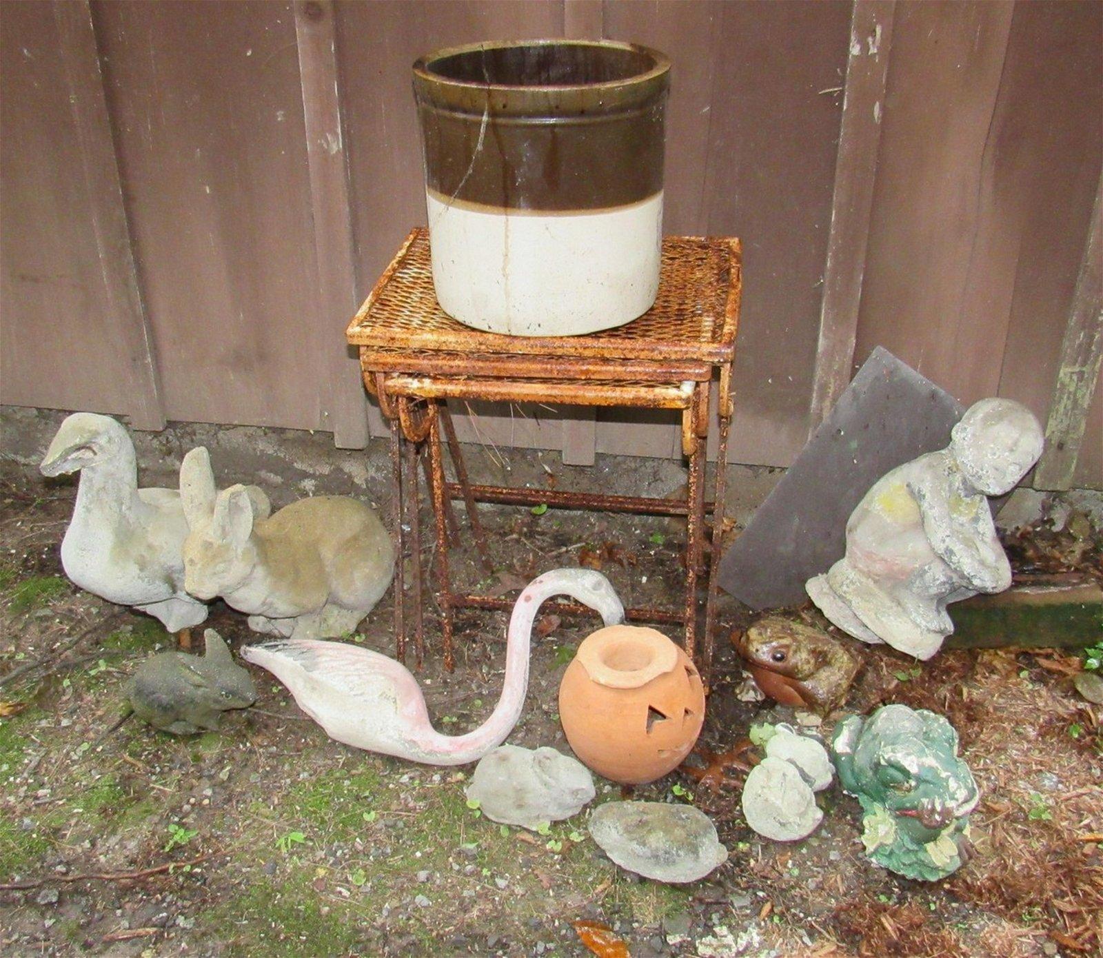 Concrete Yard Ornaments Nesting Table Crock