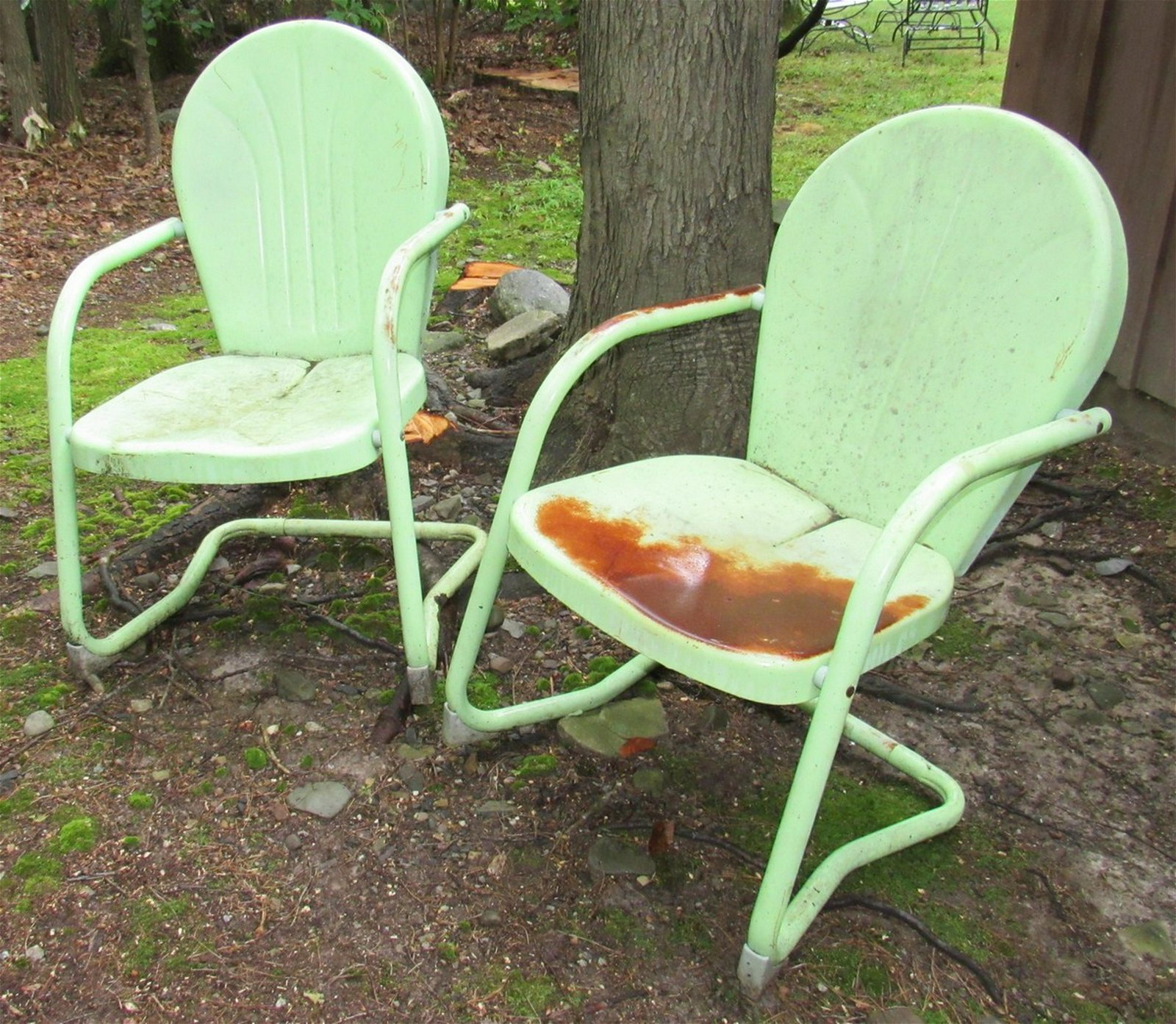 2 Vintage Metal Porch Chairs