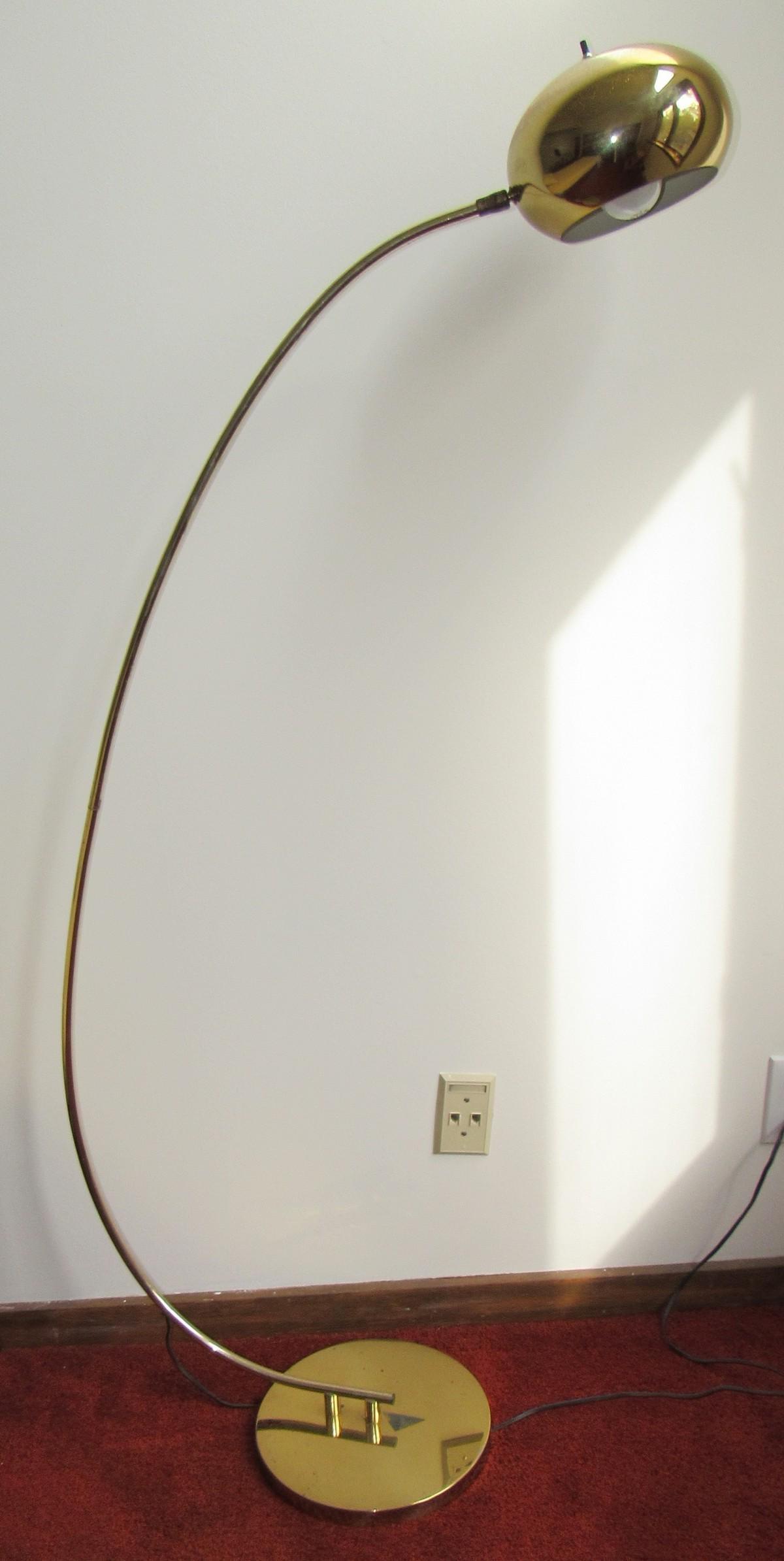 Mid Century Modern Brass Finish Floor Lamp