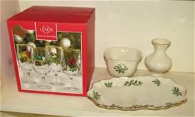 Lenox Glasses Tray Bowl and Vase